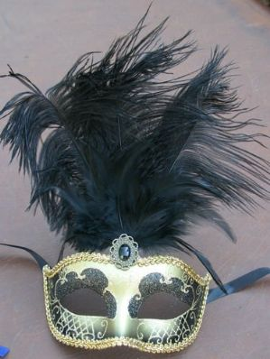 Black and Gold Masquerade Mask - Feather Masquerade Mask | Masks and Tiaras